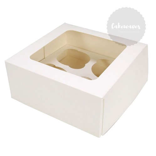 4 Holds White Cupcake Case With Inserts
