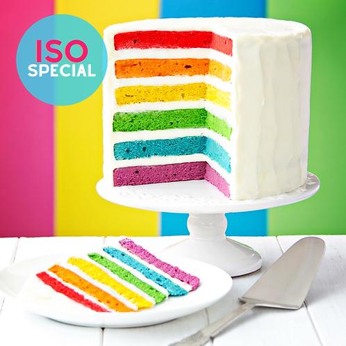 Rainbow Inside Family Sized Birthday Cake
