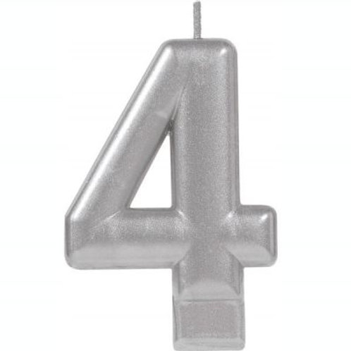 Metalic Silver Birthday Candle - Four