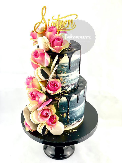 Two Tier Fresh Flower Drip Cake