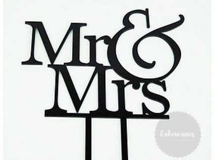 Mr and Mrs - Black Acrylic Cake Topper