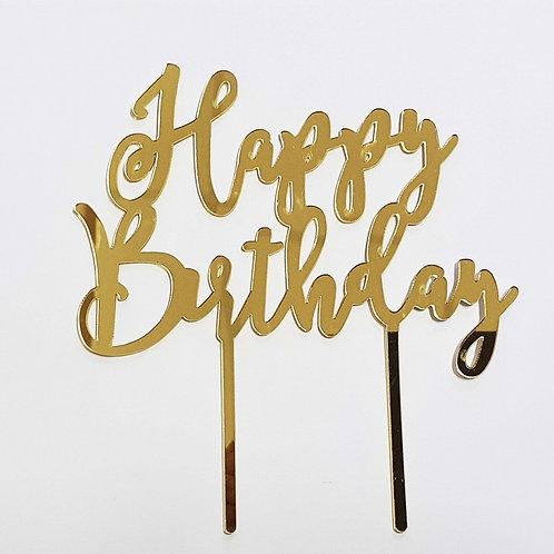 Gold Mirrored HAPPY BIRTHDAY Cake Topper