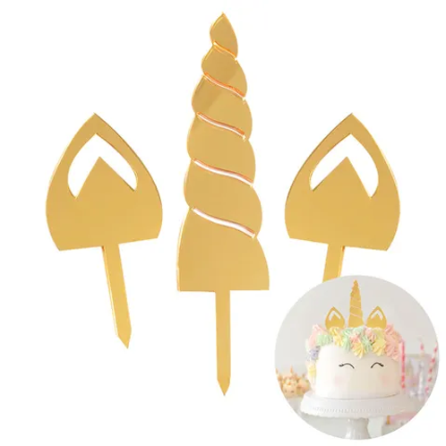 Gold Mirrored Unicorn Cake Topper