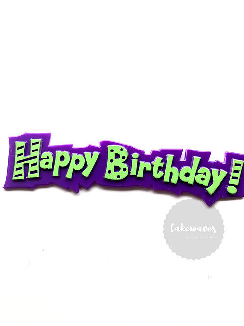 Funky Happy Birthday Cake Topper Script - Purple