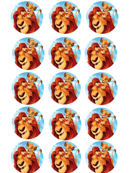 Lion King Edible Image Style1 - Cupcake cirles 2 inch