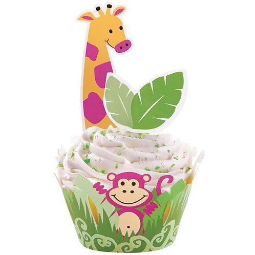 Jungle Pals Cupcake Wraps n Picks Wilton