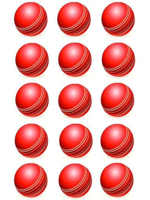 Cricket Ball Edible Image - Cupcake cirles 2 inch