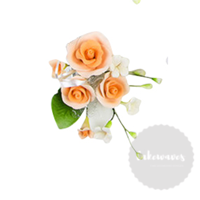 Peach Rose Edible Sugar Flower Spray 8cmx 12cm