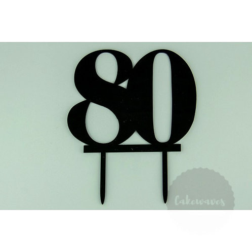 Number 80 - Black Acrylic Cake Topper