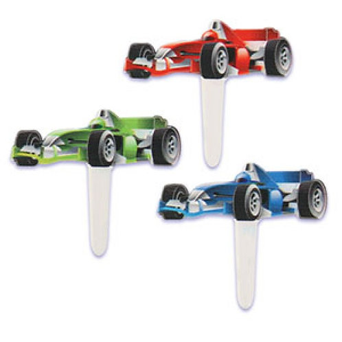 Auto Racing Cars Cupcake Picks - 12pcs