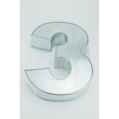 NUMBER THREE - 3 - CAKE TIN - PAN - HIRE