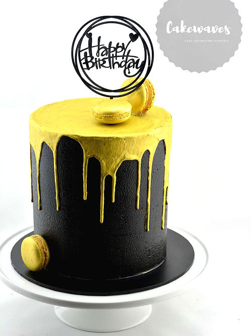 Black and Gold Buttercream Tall Style Cake