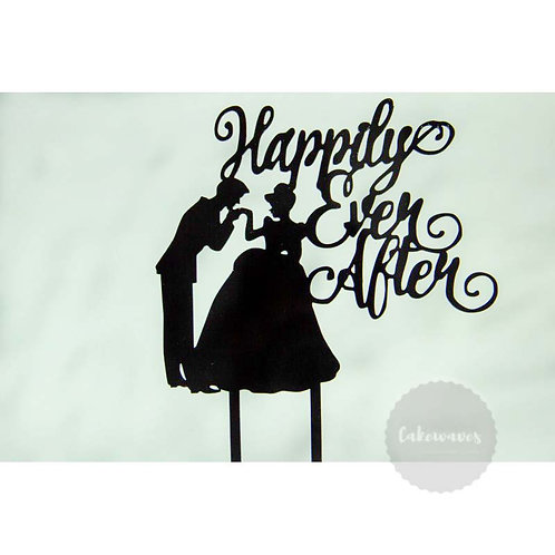 Happlily Ever After - Black Acrylic Cake Topper