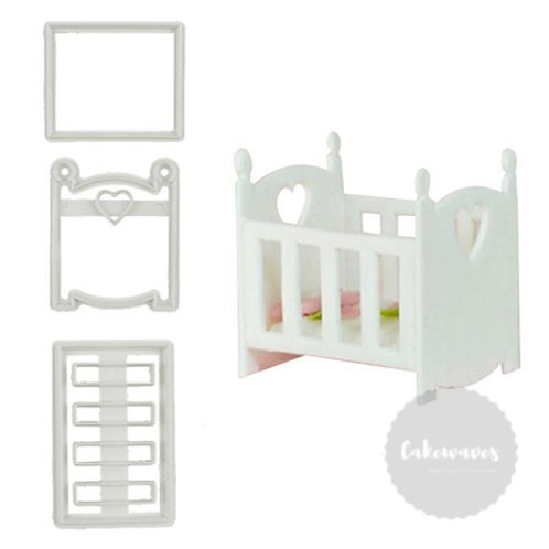 Baby Cot Fondant Cutter 3pc