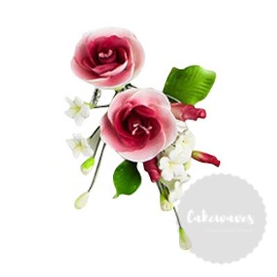 Dark Pink Edible Sugar Flower Spray 8cmx 12cm