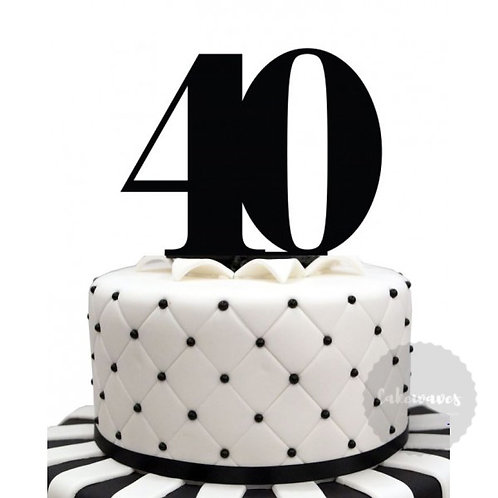 Number 40 - Black Acrylic Cake Topper