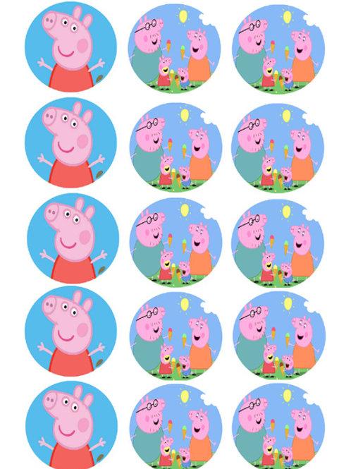 Peppa Pig Edible Image Style1 - Cupcake cirles 2 inch