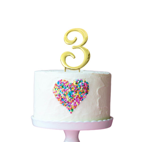 Gold Cake Topper - Number 3