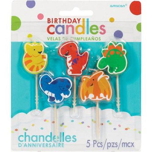Dinosaur Candle Set 5pc