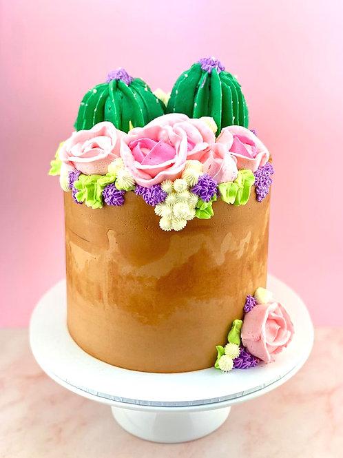 Garden Pot Catcus Floral Cake