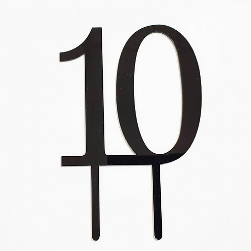 Number 10 - Black Acrylic Cake Topper