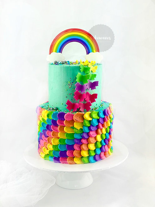 Rainbow Butterfly Two Tier Cake
