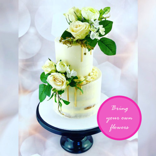 Two Tier Buttercream Floral Drip Cake Class - OPEN DATE