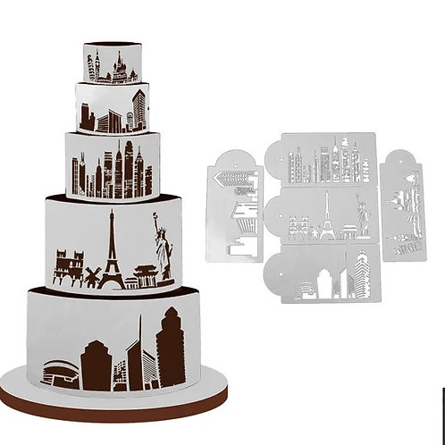 City Skyline Stencil Set - 5 pc