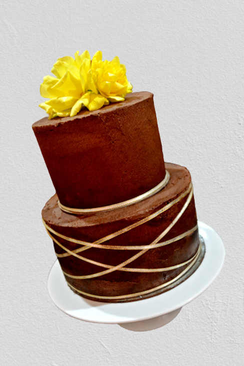 Two Tiered Chocolate Wedding Engagement Cake