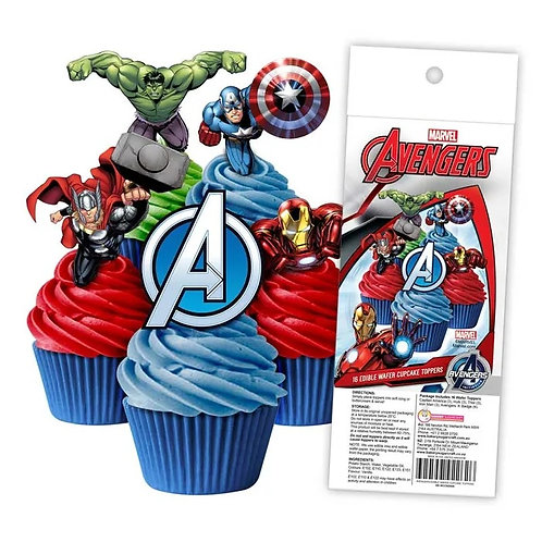 The Avengers Edible Wafer Cupcake Toppers  - 16pc