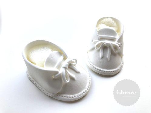 Baby Booties Edible Fondant Topper - White