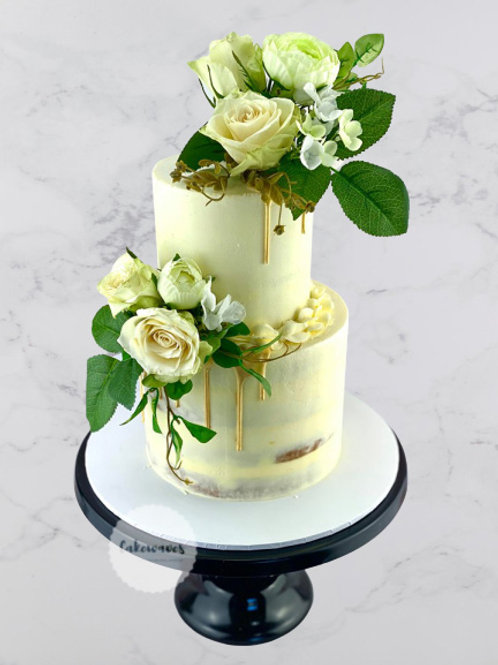 Two Tiered Semi Naked Floral Wedding Cake