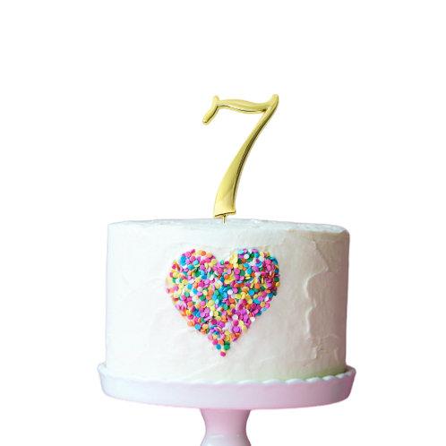 Gold Cake Topper - Number 7