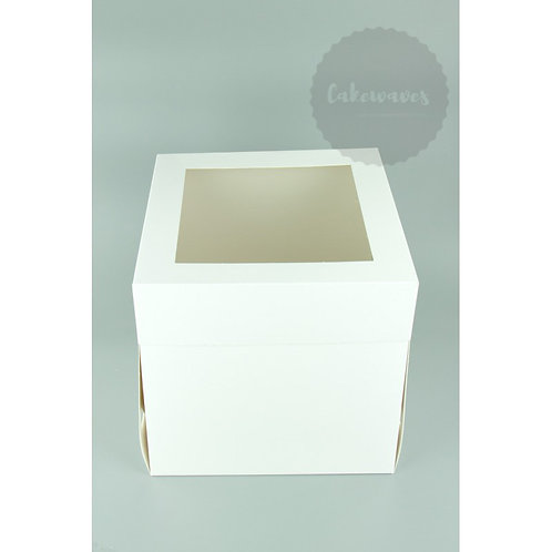 10 inch White Tall Cake Box With Window