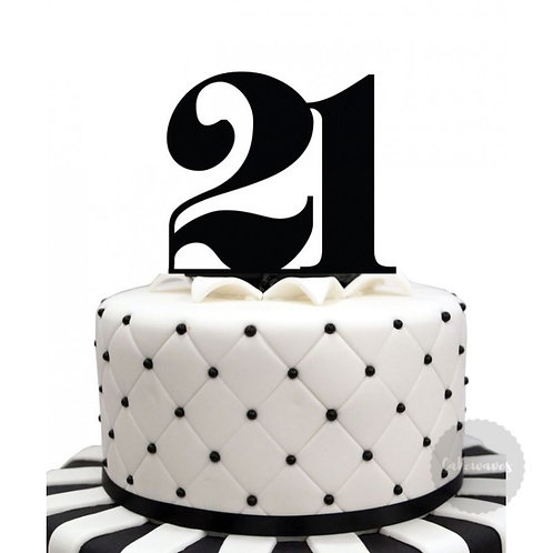 Number 21 - Black Acrylic Cake Topper