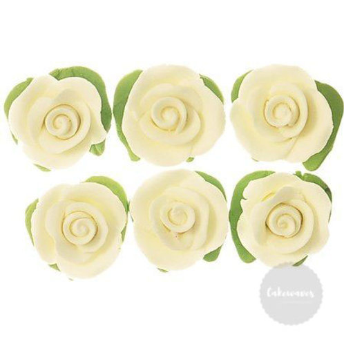 White Cupcake Roses with Leaves - 6pc Hangsell