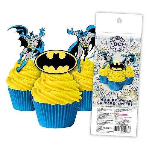 Batman Edible Wafer Cupcake Toppers  - 16pc