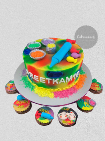 Holi Festival Themed Wedding Anniversary Cake
