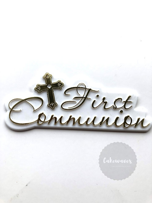 First Holy Communion Cake Topper Script - Gold