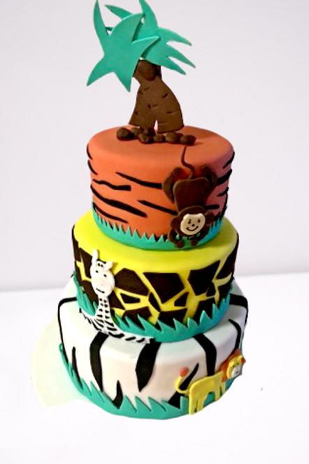 Three Tiered Jungle Safari Animal Birthday Cake