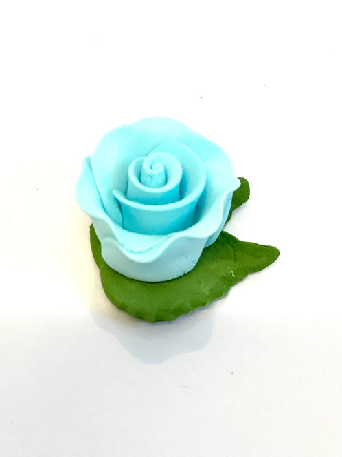 Cupcake Rose with Leaves - Blue