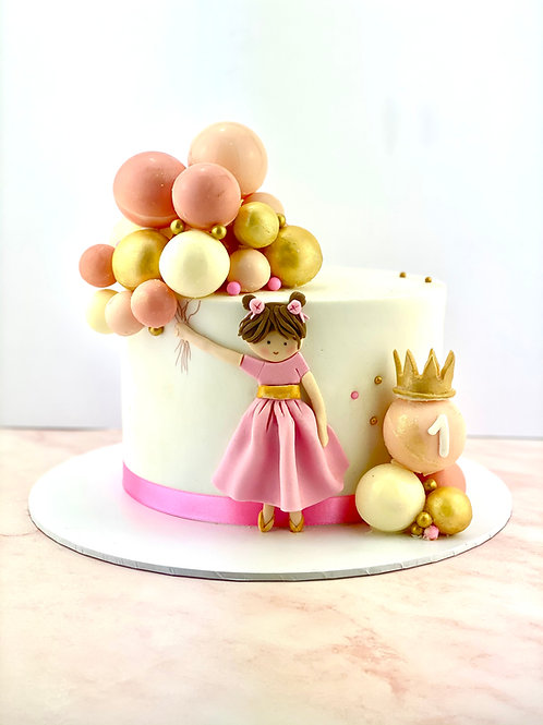 Girl With Balloons Birthday Cake - Fondant