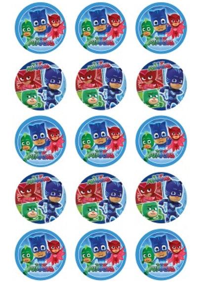 PJMask Edible Image Style1- Cupcake cirles 2 inch