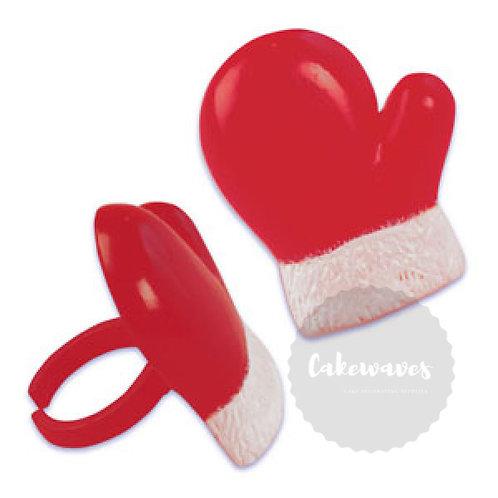 Santa Gloves Red and Black Cupcake Rings