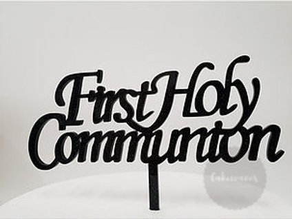 First Holy Communion - Black Acrylic Cake Topper