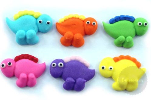 Mini Dinosaur Assorted Royal Icing Decorations 6pc