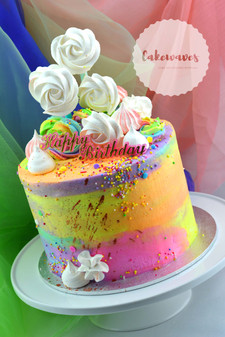 Rainbow water colour cake