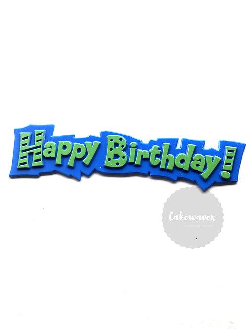 Funky Happy Birthday Cake Topper Script - Blue