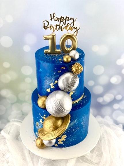 Space Galaxy Planet Birthday Cake