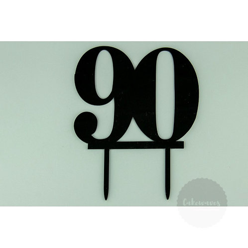 Number 90 - Black Acrylic Cake Topper